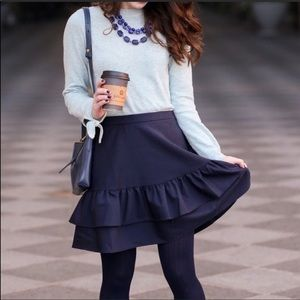 J. Crew Preppy Navy Petite Ruffle Wool Skirt